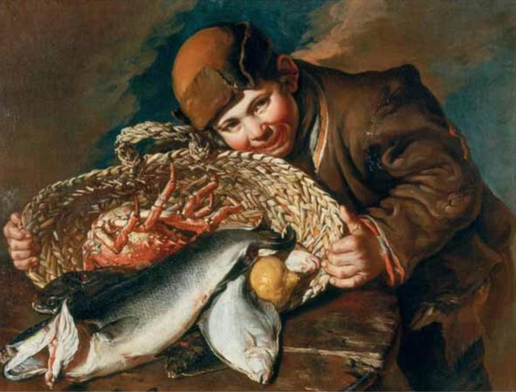 Ragazzo con la cesta di pesci
